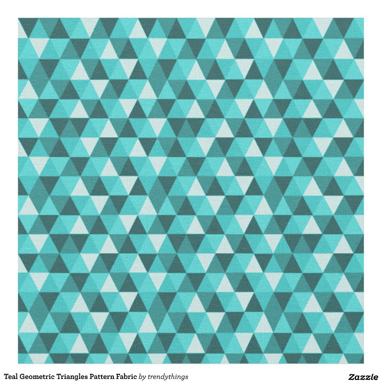 tissu g om trique turquoise de motif de triangles zazzle. Black Bedroom Furniture Sets. Home Design Ideas
