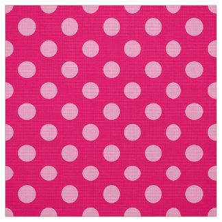 Tissu Grands rétros points, fuchsia et rose en pastel