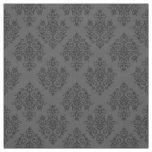 Tissu gris baroque fleuri de motif de damassé