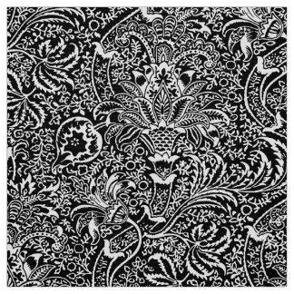 Tissu Indien de William Morris, noir et blanc