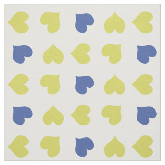 Tissu jaune et bleu lumineux mignon de coeurs