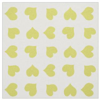 Tissu jaune lumineux mignon de coeurs