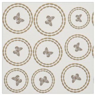 Tissu Joli blanc de motif de papillon d'or
