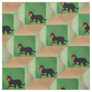 Tissu Kelpie de trot sur le vert et les cubes en Brown