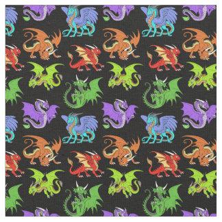 Tissu La scène de dragon badine mince