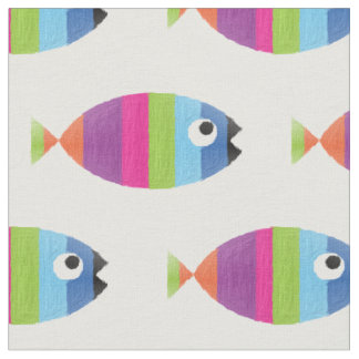 Tissu La vie rayée peinte d'océan d'aquarium de poissons