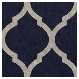 Tissu Large échelle de Quatrefoil de Marocain de bleu