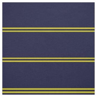 Tissu Le bleu marine, or a barré la conception