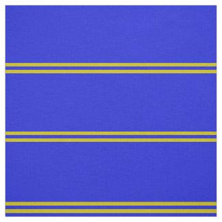 Tissu Le bleu royal, or a barré la conception