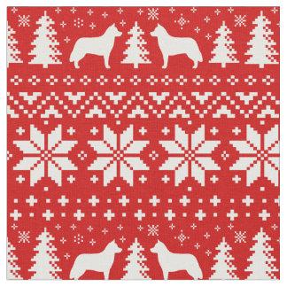 Tissu Le chien de traîneau sibérien silhouette le motif