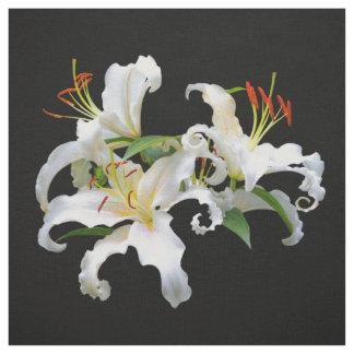Tissu Lis orientaux blancs élégants de Casablanca