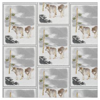 Tissu Loups dans la peinture de neige - art original de