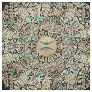 Tissu Mandala de dentelle d'or de Poissons