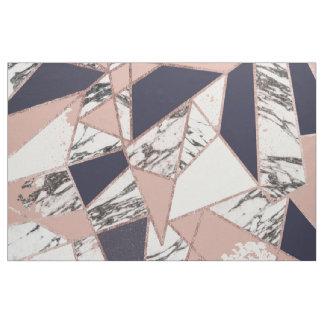 Tissu Marbre géométrique de pêche de bleu marine et or