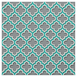 Tissu Marocain blanc turquoise Quatrefoil #5DS de gris