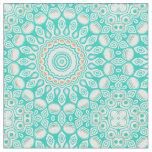Tissu Médaillon de turquoise de bleu d'océan