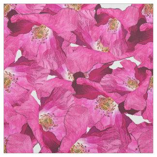 Tissu Modèle rose de pavots floraux