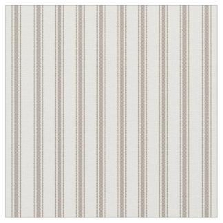 Tissu Moka Brown et rayures de coutil de classique blanc