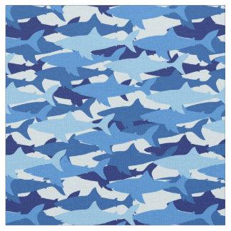 Tissu Monogramme du motif   de requin bleu