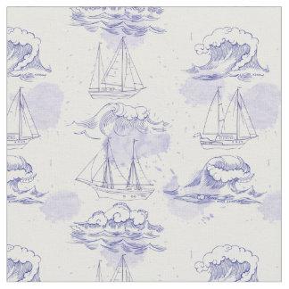 Tissu Motif 2 de vagues et de bateaux d'aquarelle
