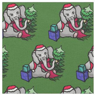 Tissu Motif adorable d'éléphant de Père Noël de Noël sur