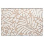 Tissu Motif baroque floral blanc et bronzage
