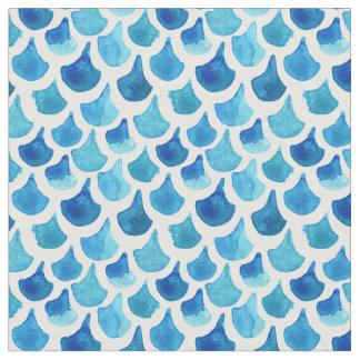 Tissu Motif bleu d'échelle d'aquarelle