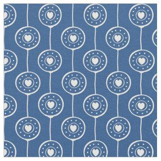 Tissu Motif bleu et blanc élégant de coeurs de cercle