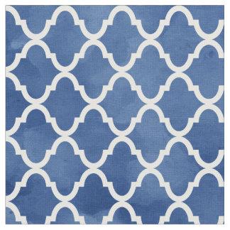 Tissu Motif bleu-foncé élégant de Quatrefoil d'aquarelle