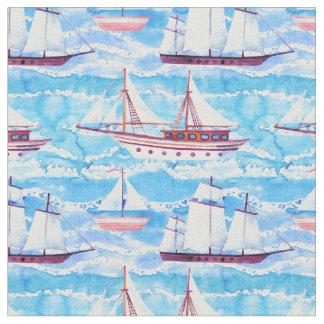 Tissu Motif de bateaux de navigation d'aquarelle