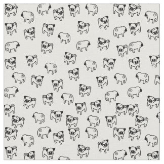 Tissu Motif de chien de carlin
