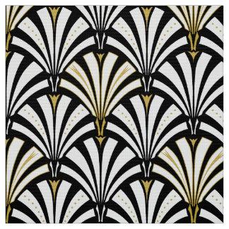 Tissu Motif de fan d'art déco - noir et blanc