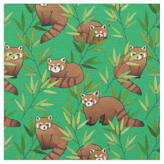 Tissu Motif de feuille de panda rouge et de bambou