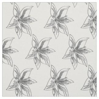 Tissu Motif de fleur mignon de lis blanc