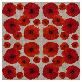 Tissu Motif de fleur rouge de pavot