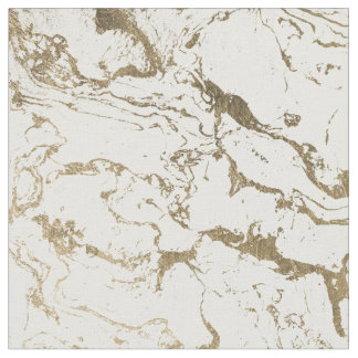 Tissu Motif de marbre blanc d'or chic moderne de faux