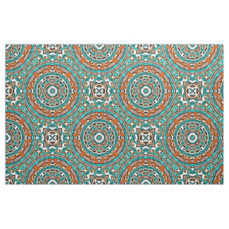 Tissu Motif de mosaïque ethnique de turquoise orange