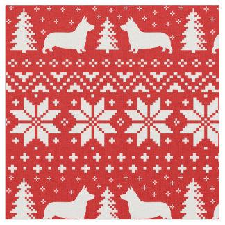 Tissu Motif de Noël de silhouettes de corgi de Gallois