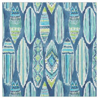 Tissu Motif de planche de surf de Tiki d'aquarelle de