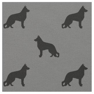 Tissu Motif de silhouettes de chien de berger allemand