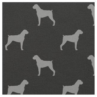 Tissu Motif de silhouettes de chien de boxeur - oreilles