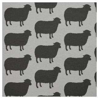 Tissu Motif de silhouettes de moutons noirs