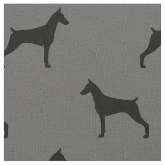 Tissu Motif de silhouettes de Pinscher de dobermann