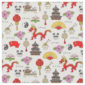 Tissu Motif de symboles de la Chine