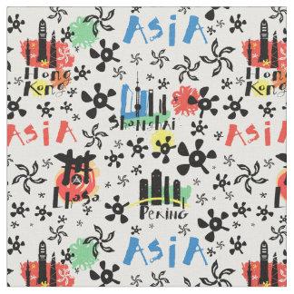 Tissu Motif de symboles de l'Asie |