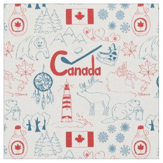 Tissu Motif de symboles du Canada |