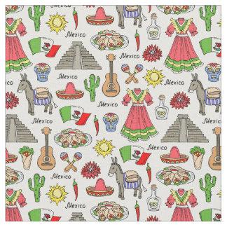 Tissu Motif de symboles du Mexique |