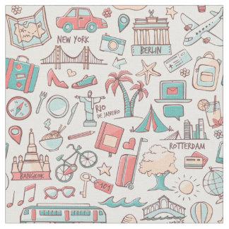 Tissu Motif de touristes en pastel