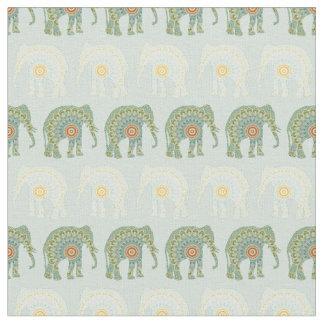 Tissu Motif d'éléphant et de mandala dans vert clair