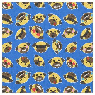 Tissu Motif d'émoticône d'Emoji de carlin